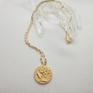 😍2/25.14k gold plated dahli flower coin necklace